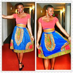 NEW Pata Pata Dashiki Midi Skirt with Pockets and by RegalClothes