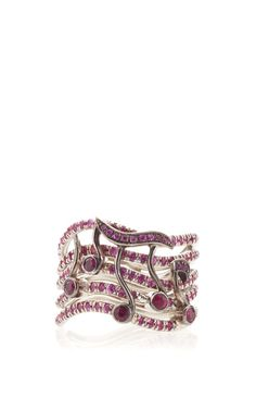 Music Note Pink Sapphire And Ruby Ring by Anna Hu Haute Joaillerie for Preorder on Moda Operandi