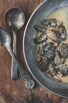 If morels weren't boss enough already, we're making them even bossypants better with morel cream sauce. What's better than morels, cream, wine & butter? Sauce Recipes, Gourmet Recipes, Pasta Recipes, Beef Recipes, Cooking Recipes, Healthy Recipes, Healthy Food, Morel Mushroom Recipes, Mushroom Cream Sauces