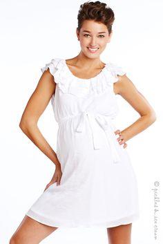 Maternal America Maternity White Ruffle Dress