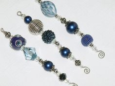 Blue Christmas Bead Ornaments - Royal Blue and Silver Icicles