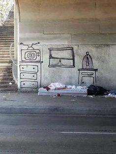 The other day a friend sent us this image of a homeless person lying amidst a drawn virtual room. We have no doubt it was staged by an artist (whoever A Thousand Kisses Deep, Street Photography, Art Photography, Banksy, Urban Art, Dark Art, Art Drawings, Sweet Home, Cool Stuff