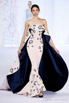 Ralph&Russo Dubai Arabic Mermaid Evening Dresses Strapless Embroidery Pink And Navy Blue Sweep Train Ruffles Run Fashion Celebrity Dresses Online with $140.21/Piece on Ourfreedom's Store | DHgate.com