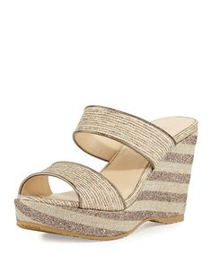 9e2979db2408 Jimmy Choo Parker Striped 100mm Wedge Sandal