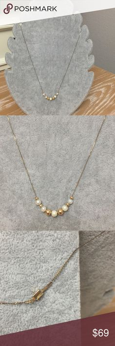 Pearl and gold bead necklace Dainty gold chain with pearl and gold beads.  Good condition. Jewelry Necklaces