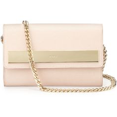Furla Misa Small Leather Pochette Bag (11.475 RUB) ❤ liked on Polyvore featuring bags, handbags, moonstone, pink leather handbag, chain strap purse, leather flap purse, genuine leather handbags and flap purse