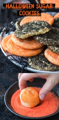 Halloween sugar cookies are a classic sugar cookie recipe that's easy to make because they are rolled in sugar before baking. You don't chill the dough or use cookie cutters for this drop sugar cookie recipe. Roll the cookies in orange and black sanding sugar for Halloween! #sugarcookies #halloweencookies #halloweensugarcookies Drop Sugar Cookie Recipe, Drop Sugar Cookies, Gluten Free Sugar Cookies, Halloween Food For Party, Halloween Desserts, Amazing Cookie Recipes, Frozen Cookie Dough, Halloween Sugar Cookies, Best Comfort Food