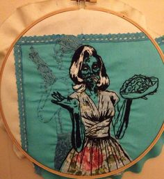 """Zombie Hand embroidery from the cover of """"Aim for the head"""" By Jennifer Reilly"""