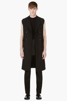 Alexander McQueen Black Sleeveless Double Breasted Coat for men | SSENSE