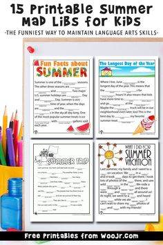 15 Free printable funny summer mad libs, great for kids car activities or for summer party games.