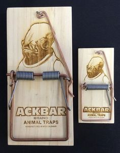 Admiral Ackbar wasn't exactly a big character in the Star Wars films. We only remember him because of his fish-like features and his famous It's A Trap! line in Return of the Jedi. Ackbar has found new life on the web as a meme, and some geek genius has burnt his face onto an actual trap.