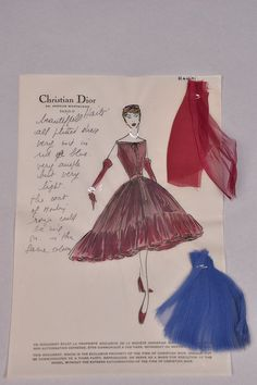 Christian Dior stationery for Haiti dress with personal notes to client Brenda Schulman, with swatches attached
