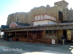 The front of the Mine ride as it appeared at the January 31st, 2009 farewell ceremony before being demolished. One mine car was left in the loading station for people to sit in.