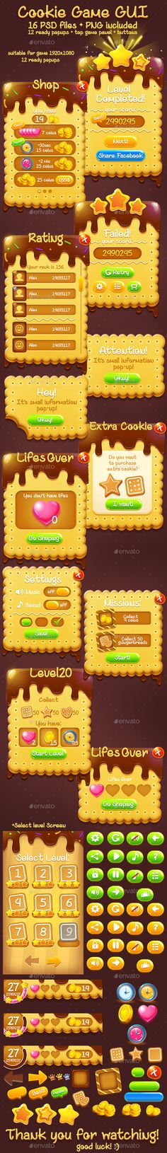 Chocolate Sweet Cookie Game GUI Set — Photoshop PSD #ui #cute • Download ➝ https://graphicriver.net/item/chocolate-sweet-cookie-game-gui-set/19059596?ref=pxcr