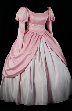 [***WARNING: CAN'T wear THIS to disney, (not adults anyhow) it looks too much like the real thing so YOU WILL NOT BE ALLOWED IN if you wear this!] Adult Little Mermaid Pink Ball Gown Custom Costume. $600.00, via Etsy.