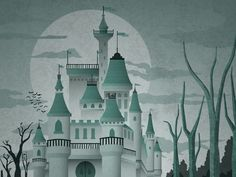 Here's a look at our Haunted Castle illustration for a up an coming Halloween themed gig poster.