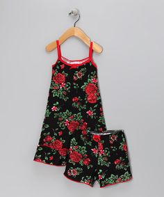 Take a look at this Black Noir Roses Dress & Shorts - Toddler & Girls by Charm'd on #zulily today!