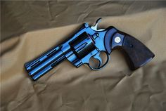 Blued Colt Python ~ Of all the guns I've fired, I liked this one the best. I wonder if it comes in lavender or purple. 357 Magnum, Rifles, Colt Python, By Any Means Necessary, Fire Powers, Home Defense, Cool Guns, Guns And Ammo, Tactical Gear