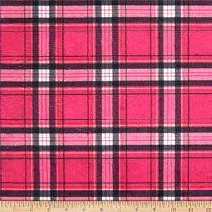 Minky New Plaid Hot Pink/Black from @fabricdotcom 12.98 This extraordinary soft and cuddly fabric has a smooth minky surface and soft 3 mm pile. It's perfect for baby accessories, blankets, throws, pillows and stuffed animals. Colors include snow white, black, cherry red and  dark hot pink.