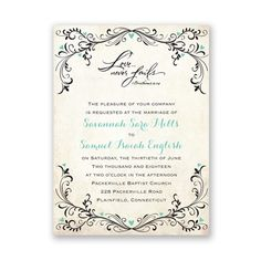 Love Never Fails wedding invitations. Choose any colors and wording. Exclusively at www.annsbridalbargains.com