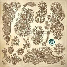 collection of original hand draw line art ornate flower design. Ukrainian traditional style photo