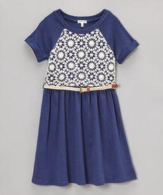 Look at this #zulilyfind! Navy & White Crochet-Overlay Belted Dress by Monteau Girl #zulilyfinds