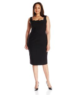 Single Dress Women's Plus-Size Scalloped Neckline Sheath Dress, Black, 1X * Check this awesome image  : Plus size dresses