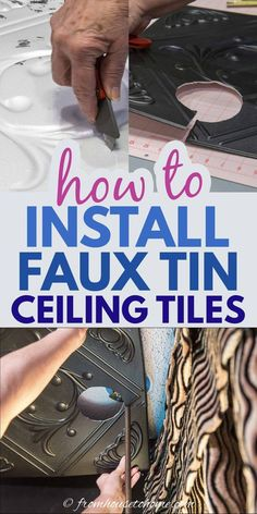 Learn how to install styrofoam faux tin ceiling tiles which add interest to your ceiling and can be used to cover imperfections (or popcorn ceilings). A great way to upgrade your room decor on a budget. #fromhousetohome #homedecor #roomdecor #ceilings #diydecorating  #diyhomedecor Styrofoam Ceiling Tiles, Faux Tin Ceiling Tiles, Tin Tiles, Covering Popcorn Ceiling, Removing Popcorn Ceiling, Light Fixture Covers, Ceiling Installation, Painted Trays, Ceiling Decor