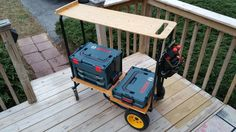 Work Cart made from Rock and Roller Cart with L-boxx Storage, Made to tote a Ladder and Tools,