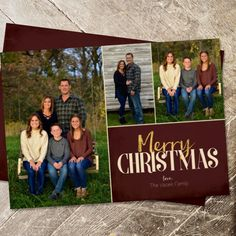 Merry Christmas photo collage Christmas card. Rustic Christmas card design. Maroon and gold photo collage Xmas card.