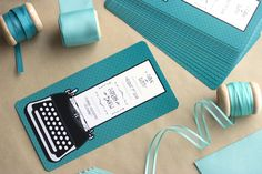 Our typewriter save the dates! Teal is just oh so lovely <3