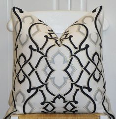 """Black, Gray & Off-White Pillow Cover 20"""" x 20"""" $46"""