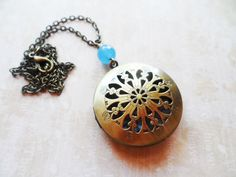 Brass locket necklace with baby blue flower cameo, vintage style bronze, nature inspired, bespoke jewelry, Selma Dreams by SelmaDreams on Etsy