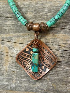necklace idea, use ceramic piece I especially like the etched pattern on the copper.