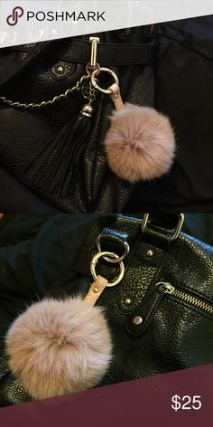 """Tan Fur Ball Pom Pom Keychain With Leather Strap Very well constructed 8 cm, rabbit fur ball keychain. Fluffy & soft to the touch. Features sturdy, gold metal hardware and a genuine leather strap.   Add to your bag or attach your keys to them. Not """"Michael Kors,"""" but the quality is the same.   Please note that this is REAL rabbit fur. Available in red, light pink, hot pink, green, black & tan. Please locate each color in a separate listing in my closet.   Price is firm unless bundled. You…"""