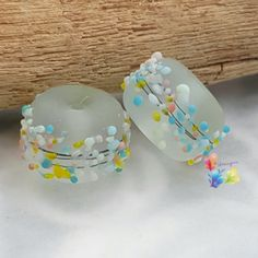 Lampwork Beads Pastel Blossom Pair by GlitteringprizeGlass on Etsy