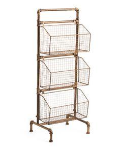 Metal Storage Rack - Accent Furniture - T. Shelf Furniture, Accent Furniture, Home Furniture, Small Space Furniture, Furniture Plans, Metal Storage Racks, Storage Baskets, Bathroom Organisation, Room Organization