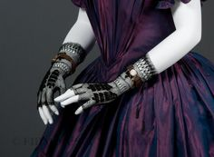 Fingerless mitts or gloves 1830s Cotton and embroidery [but the gown is 1840s or later--kd]