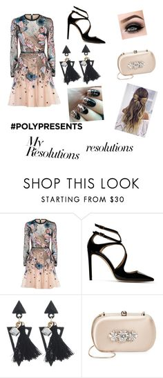 """#PolyPresents: New Year's Resolutions"" by hannahthatsme ❤ liked on Polyvore featuring Elie Saab, Jimmy Choo, ASAP, Badgley Mischka, contestentry and polyPresents"