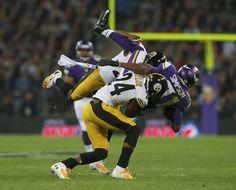 edd285126 Minnesota Vikings wide receiver Jerome Simpson (R) is brought down by  Pittsburgh Steelers cornerback