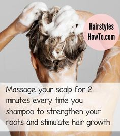 Strengthen your roots & stimulate hair growth by massaging your scalp for at least 2 minutes every time you shampoo your hair.