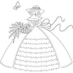 Pattern Detail | Belle with Basket of Flowers | Needlecrafter