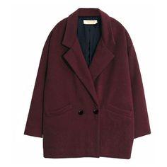 Oversized Boyfriend Coat ($37) ❤ liked on Polyvore featuring outerwear, coats, jackets, coats & jackets, oversized lapel coat, long sleeve coat, purple coat, oversized coat and woolen coat
