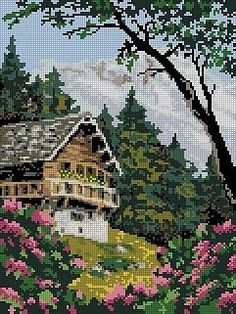 ` Cross Stitch House, Cross Stitch Needles, Cross Stitch Charts, Cross Stitch Designs, Cross Stitch Patterns, Hand Embroidery Stitches, Embroidery Art, Cross Stitch Embroidery, Graph Paper Drawings