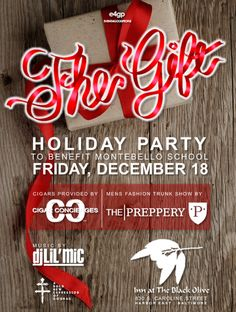 JUST ADDED: CIGARS BY @LION4RIO @lion4rio TRUNK SHOW BY THE PREPPERY...Dress well.  Azikiwe and Penelope @e4gp invite you to Party with a Purpose this Holiday Season at the exclusive Inn at the Black Olive roof top and Olive Room!  Friday, December 18th be prepared to enjoy a night of fine foods, spirited drinks, quality cigars, fashion and great music - all while supporting a great cause!  We look forward to celebrating the Holidays with you at THE GIFT!  Cheers! Zik & P