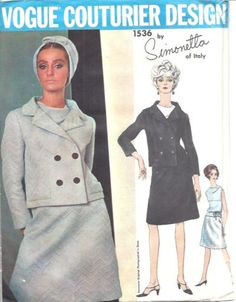 1965 Vintage VOGUE Sewing Pattern B34 Suit Skirt Jacket Blouse