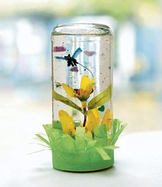 Spring No-Snow Globe...replace the snowman and snow with flowers, butterflies, and glitter!