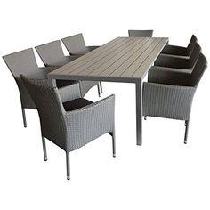 Sitzgruppe Gartengarnitur Terrassenmöbel Gartenmöbel Set   Gartentisch,  205x90cm, Polywood Tischplatte Grau