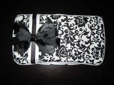 Black and White Damask Baby Wipe Case by MadeForMaddie on Etsy, $8.00