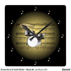 Drum Set 3-D Gold Globe ~ Sheet Music ~ Black BG ~ Square Wall Clock